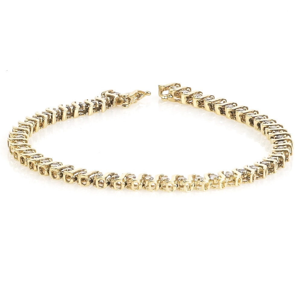 10K Yellow Gold and 1.00 CTW Diamond Tennis Bracelet