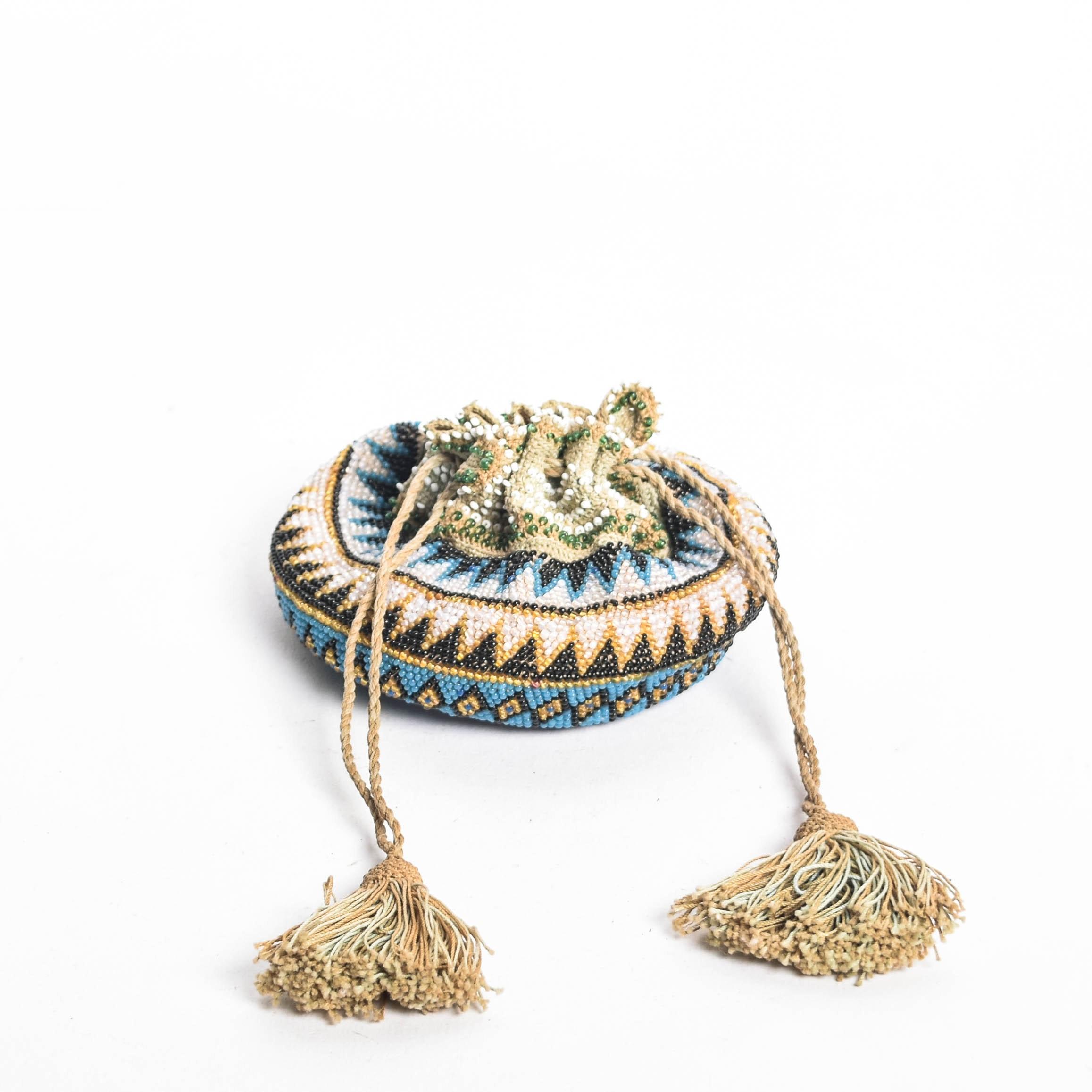 Antique Hand Beaded Drawstring Purse