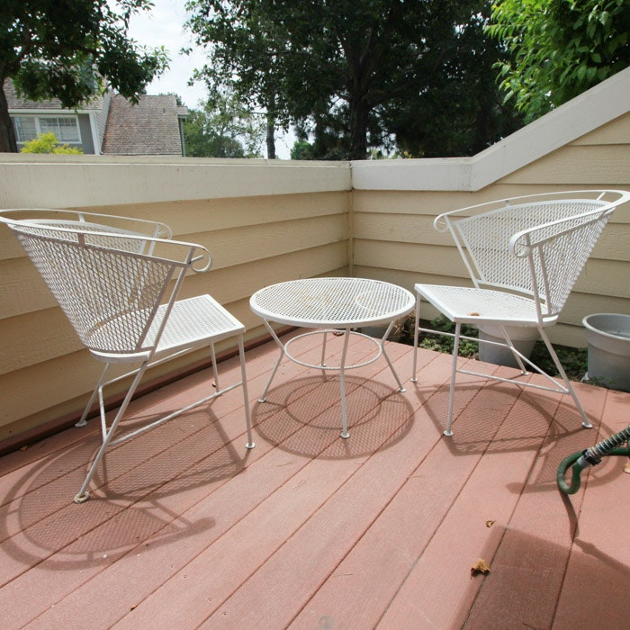 Mid Century Modern Iron Patio Chairs and Table by Russell Woodard