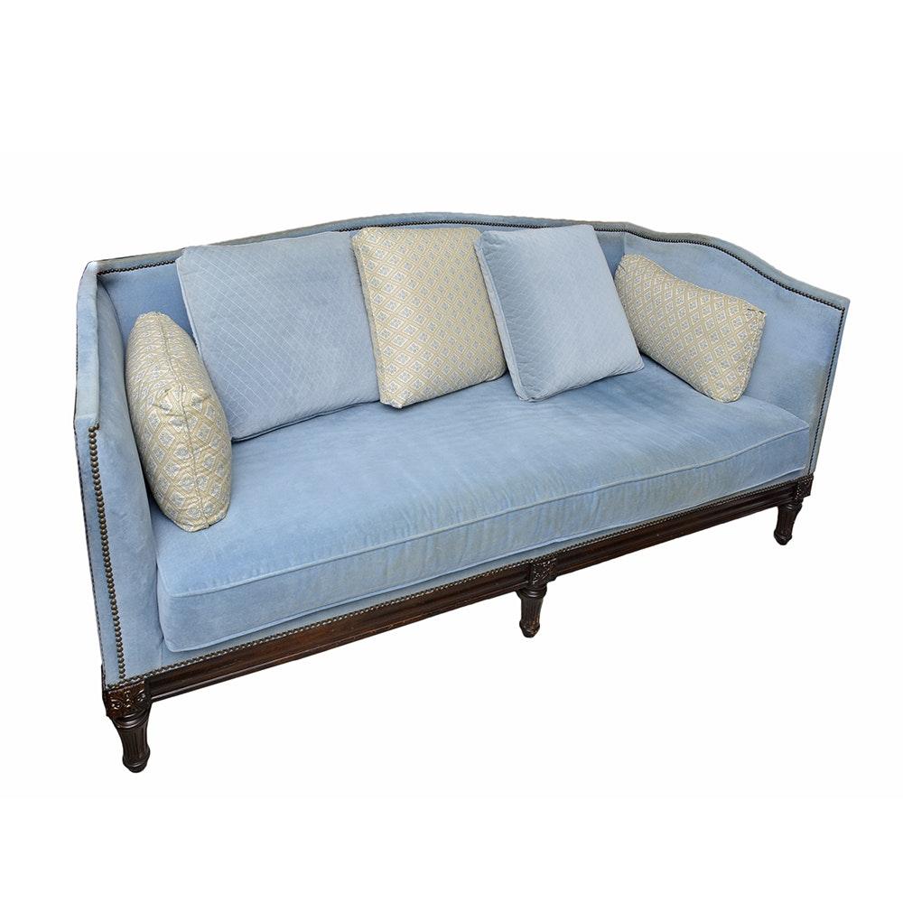 Louis XVI Style Blue Velour Sofa