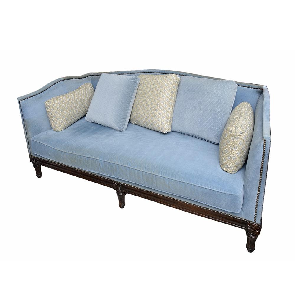 Louis XVI Style Blue Velour Sofa ...