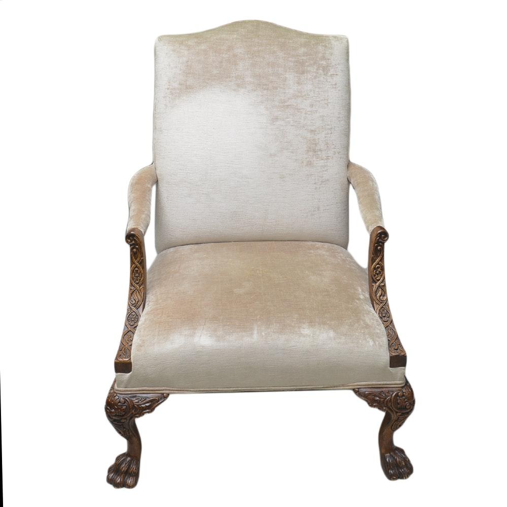 Vintage Gainsborough Style Velvet Armchair