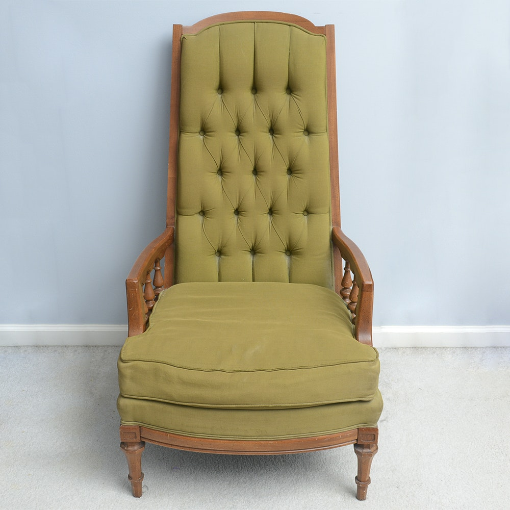 Vintage Upholstered High Back Chair By Broyhill ...