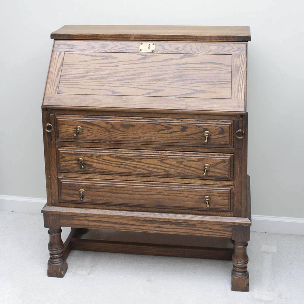 Oak Slant Front Secretary Desk