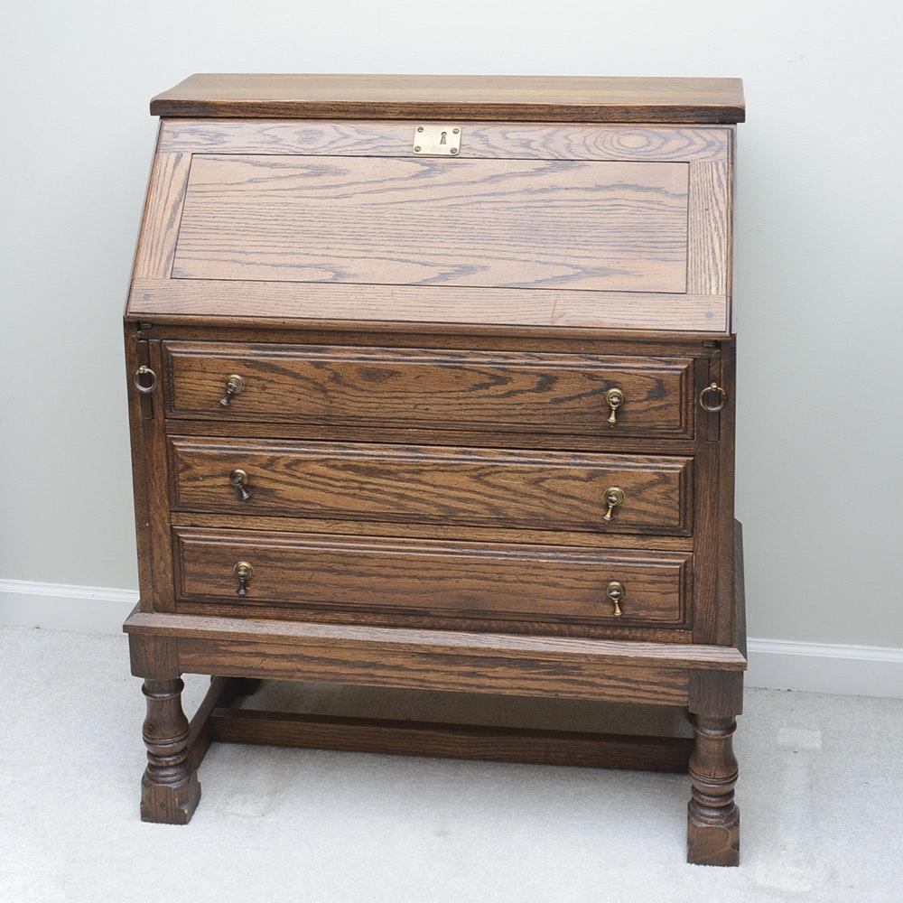 Oak Slant Front Secretary Desk