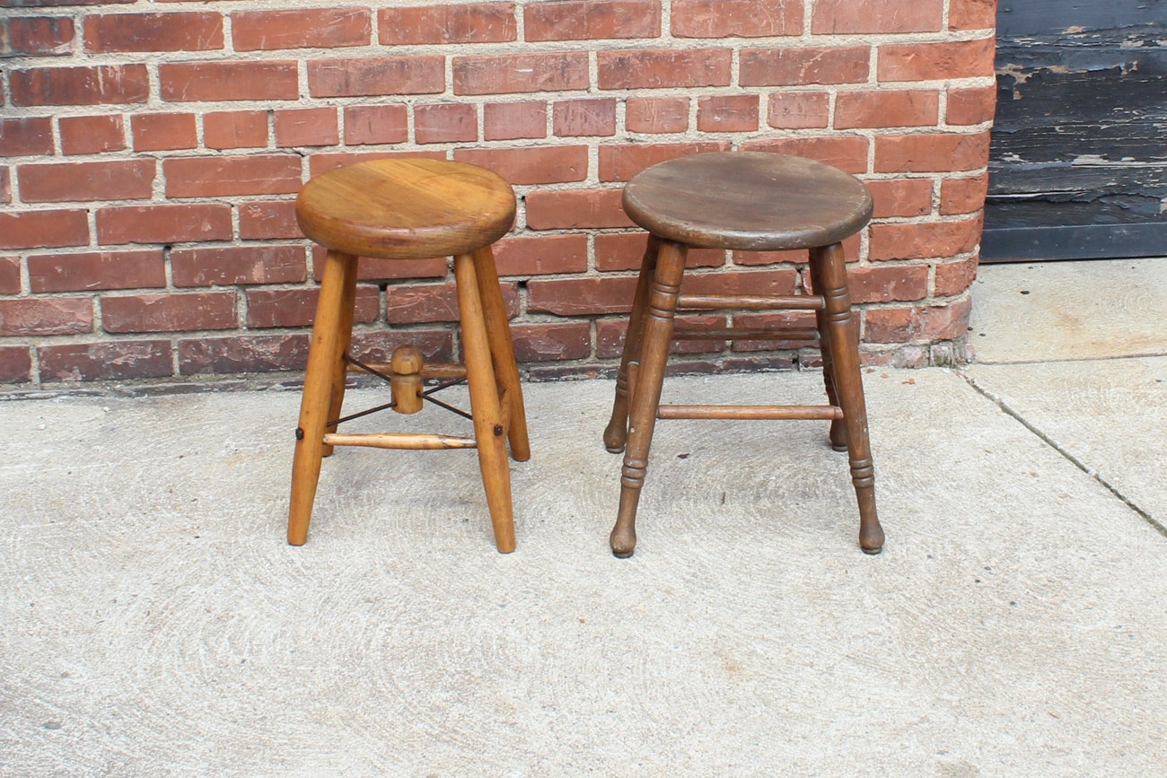 Pair of Vintage Wooden Stools