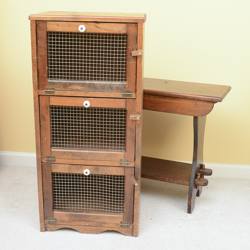 Vintage Side Table with Storage Cabinet