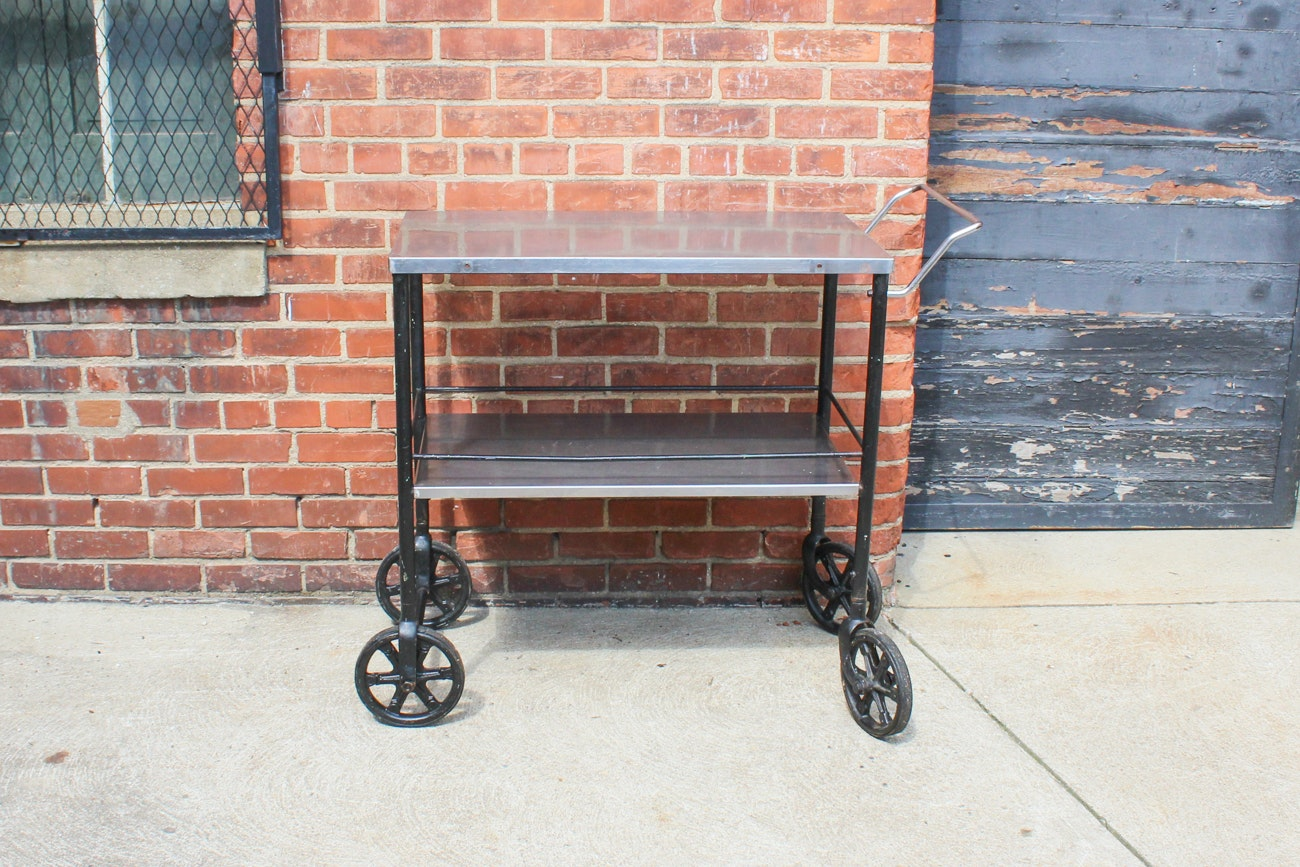 Cast Industrial Iron and Stainless Steel Beverage Cart