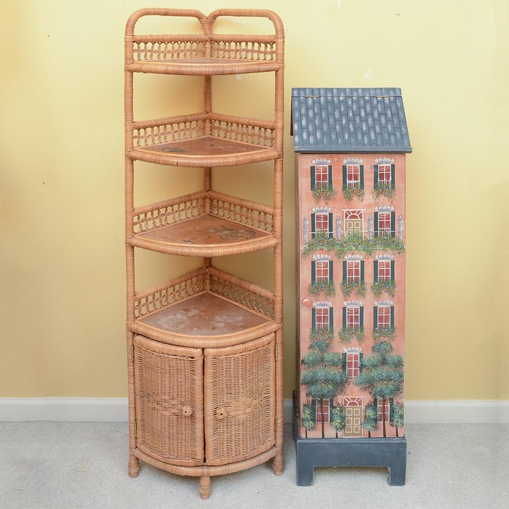 Wicker Corner Shelf and House Cabinet