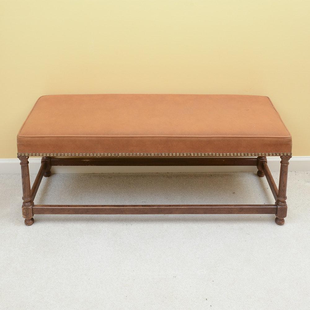 Upholstered Bench with Oak Frame