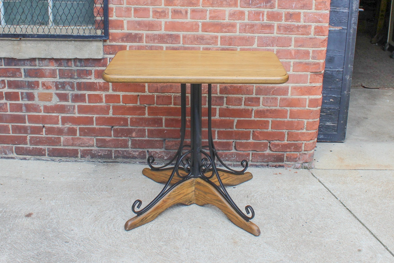 Vintage Hand Crafted Oak and Metal Table