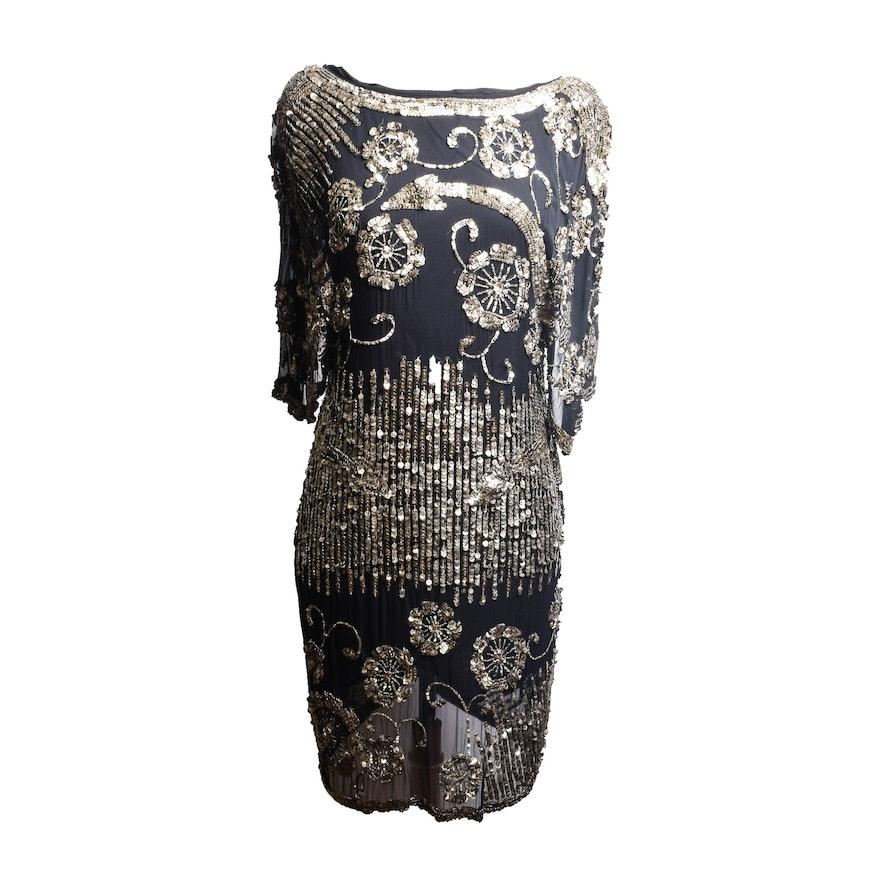 Trelise Cooper Silk Dress with Metal Sequins