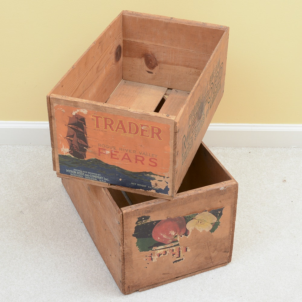 Pair of Vintage Wooden Fruit Crates