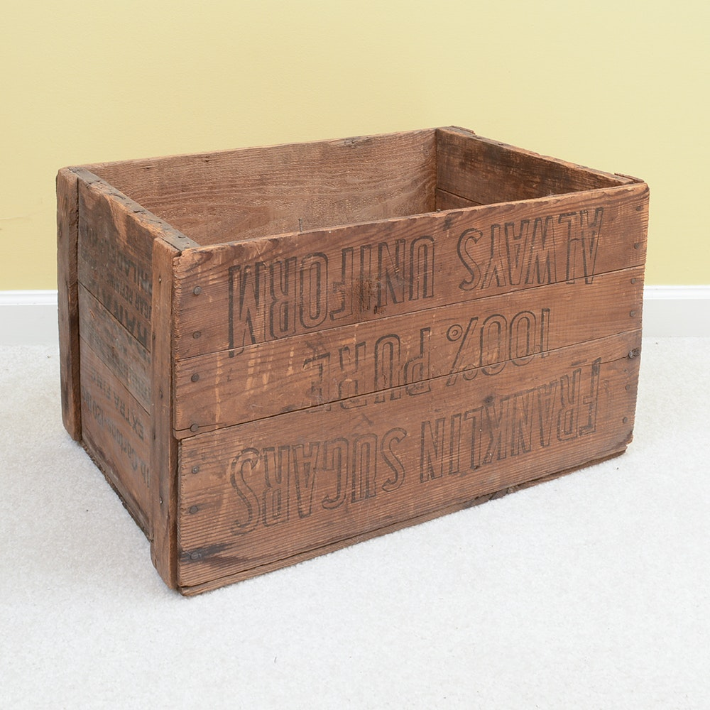 Franklin Sugars Advertisement Wooden Crate