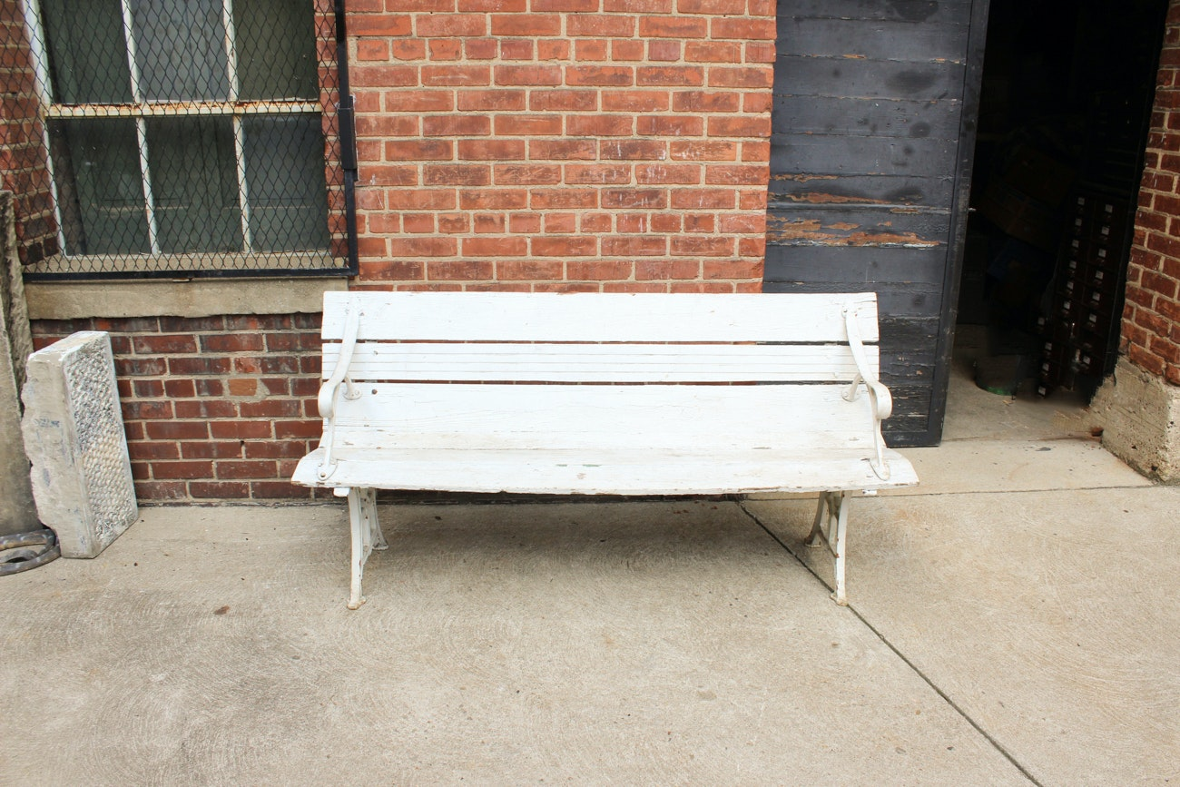 Vintage Iron and Wood Park Bench