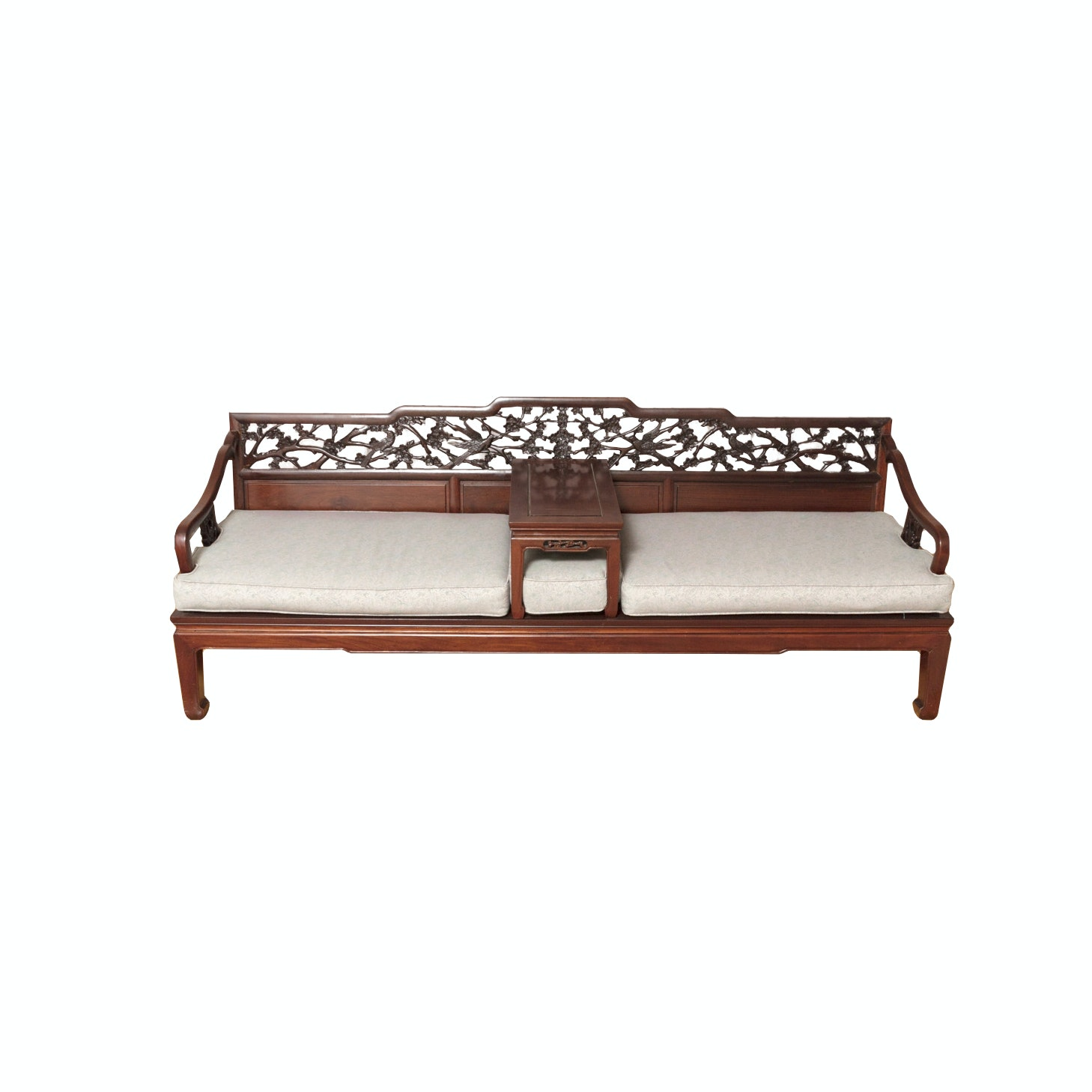Chinese Inspired Carved Bench with In-set Table