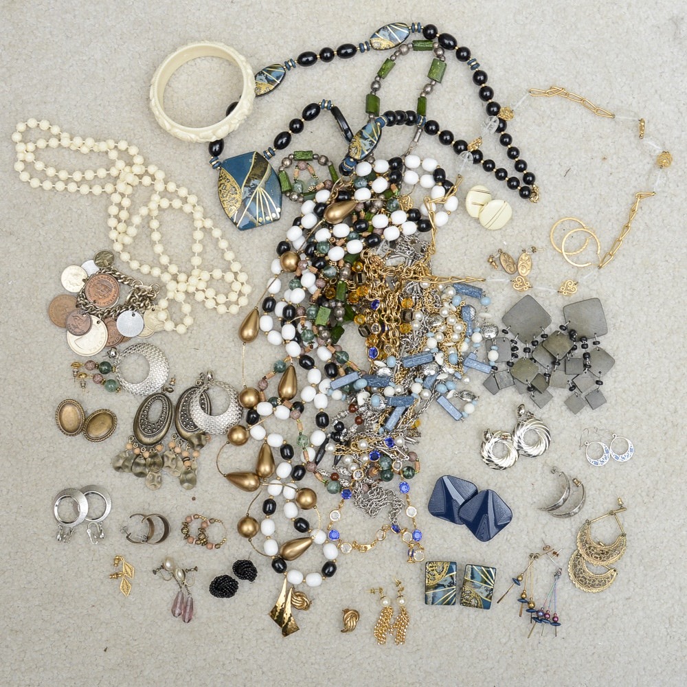 Assorted Costume Jewelry Including Faux Pearl Earrings