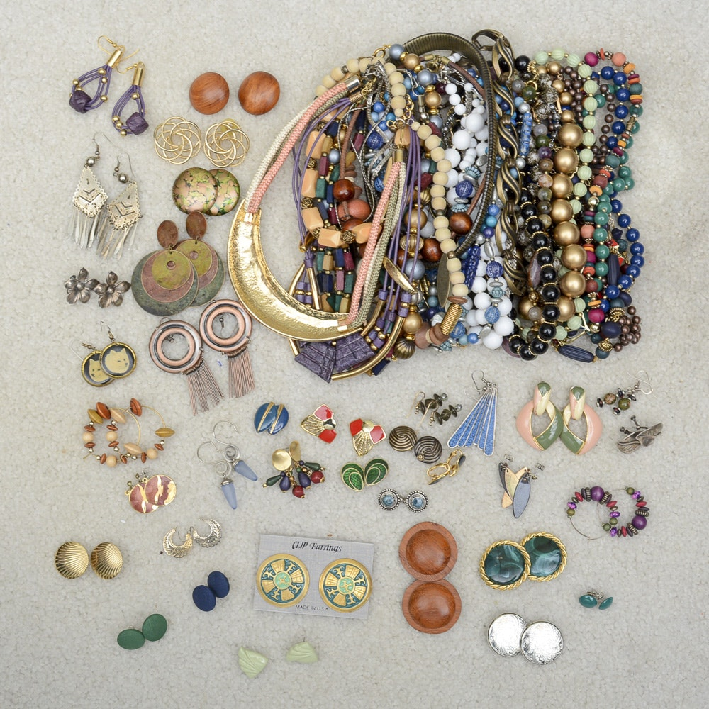 Assorted Costume Jewelry Including Gold Tone Earrings