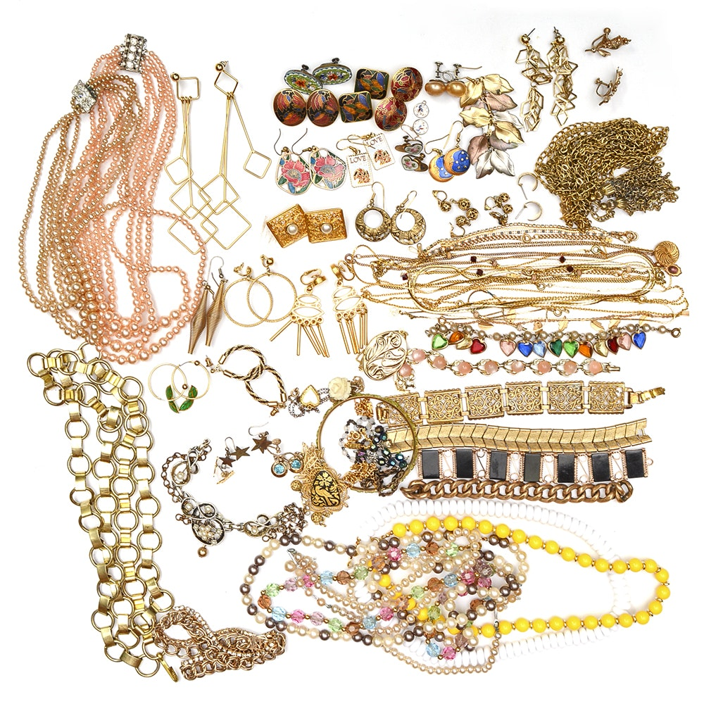 Assorted Costume Jewelry Including Gold Tone Necklaces