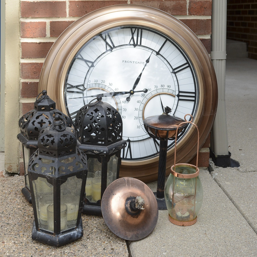 Outdoor Lanterns and Wall Clock