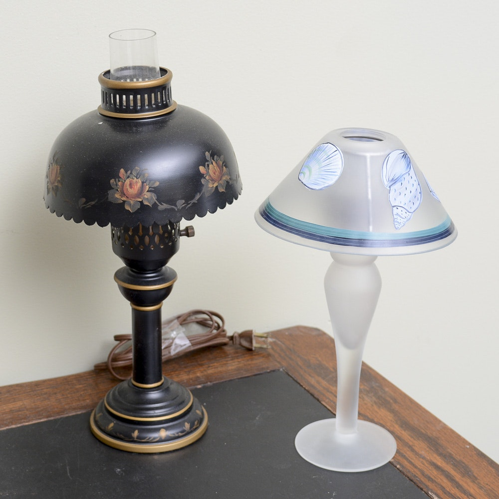Vintage Oil Converted Lamp and Candle Holder