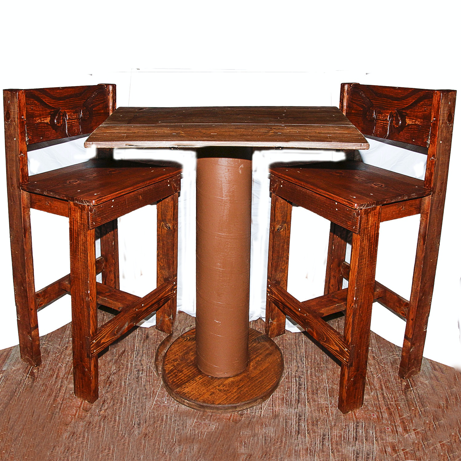 Rustic Wooden High Top Table with Chairs