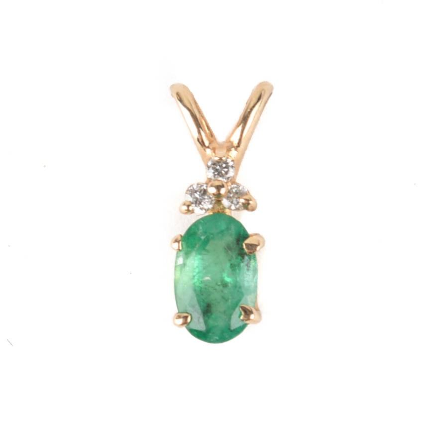 14K Yellow Gold Diamond and Emerald Pendant