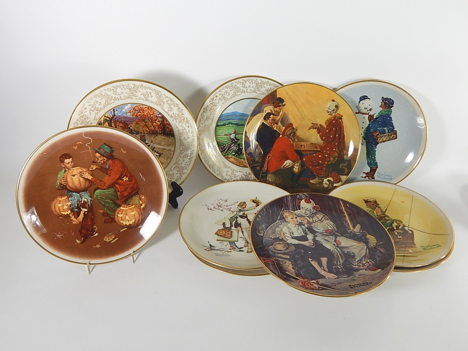 Eight Norman Rockwell Collectors Plates