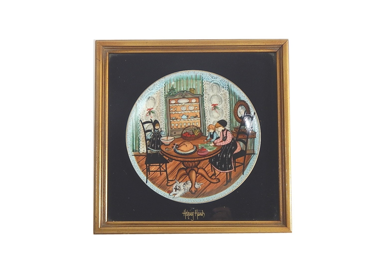"""Helping Hands"" P. Buckley Moss Framed Christmas Plate"