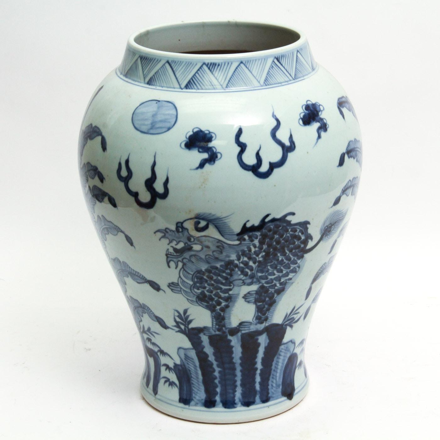 Antique Handmade Chinese Ceramic Vase