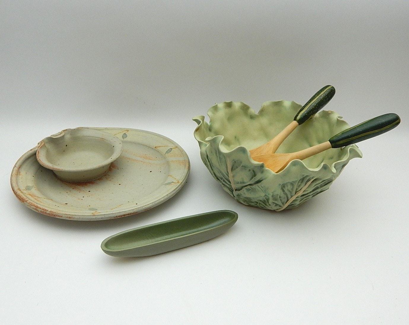 Decorative Cabbage Salad Bowl, Pottery Chip 'N Dip, Vegetable