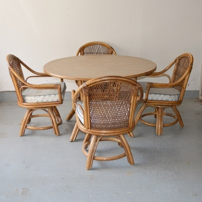 Bamboo Table and Four Chairs