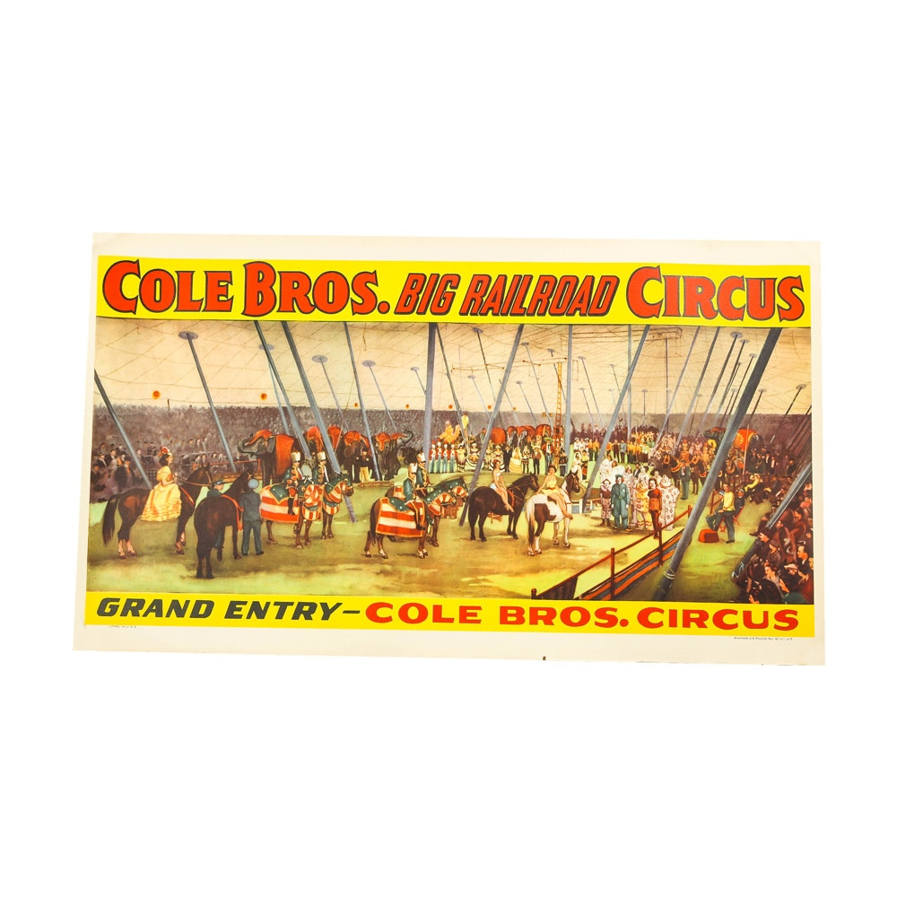 Vintage Offset Lithograph Poster for Cole Bros. Circus