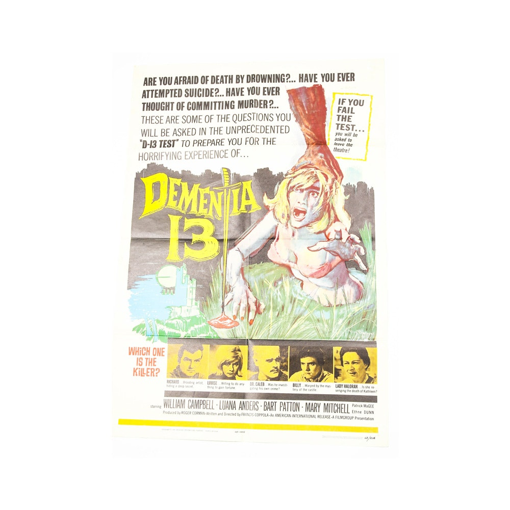 "Vintage 1963 ""Dementia 13"" Movie Poster"