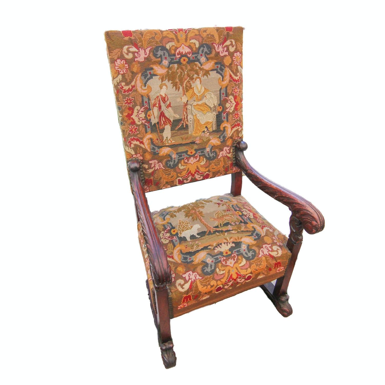 Victorian Pastoral Needlepoint Armchair