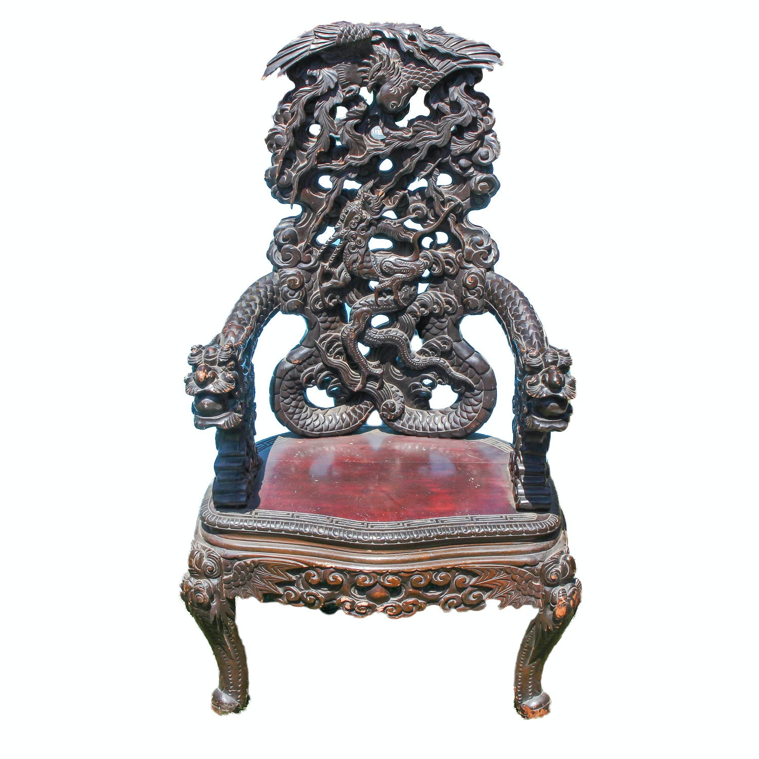 Vintage Wood Chinese Chair with Ornate Carvings