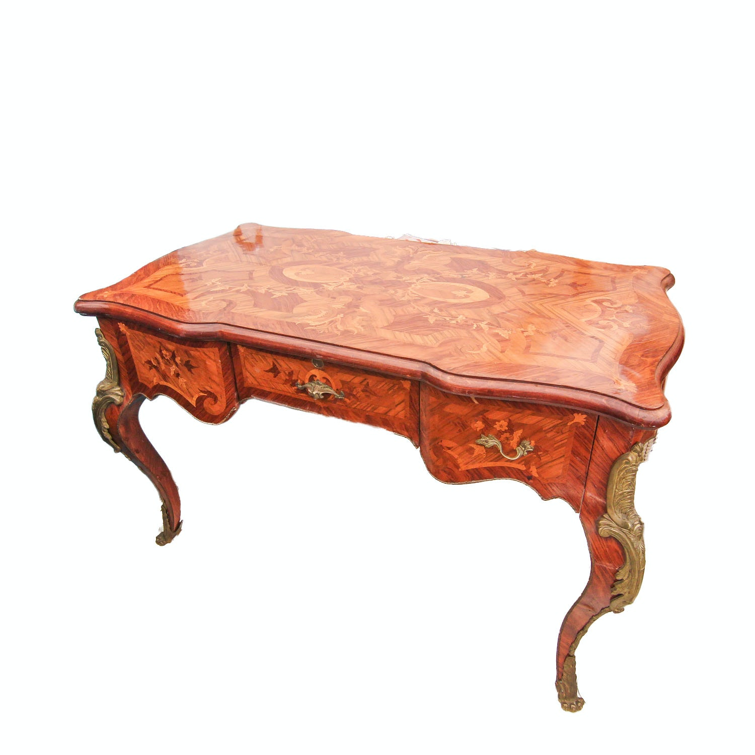 Louis XV Style Marquetry Writing Desk With Gilt Metal Mounts