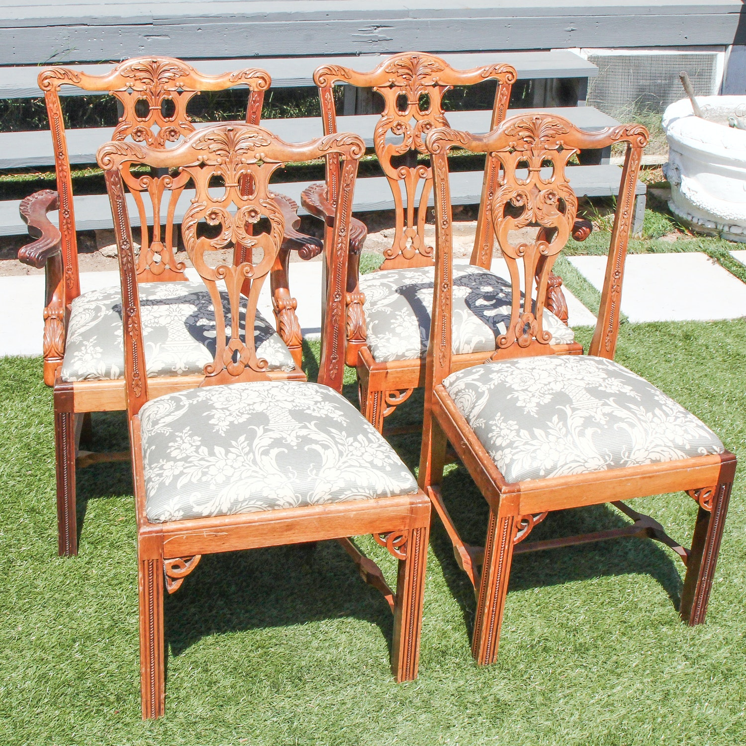 Set of Four Hand Carved Mahogany Chippendale Dining Chairs