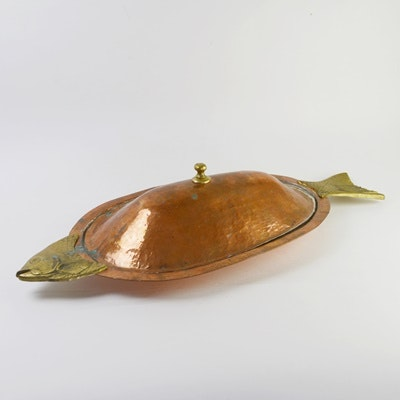 Copper and Brass Lidded Fish Platter