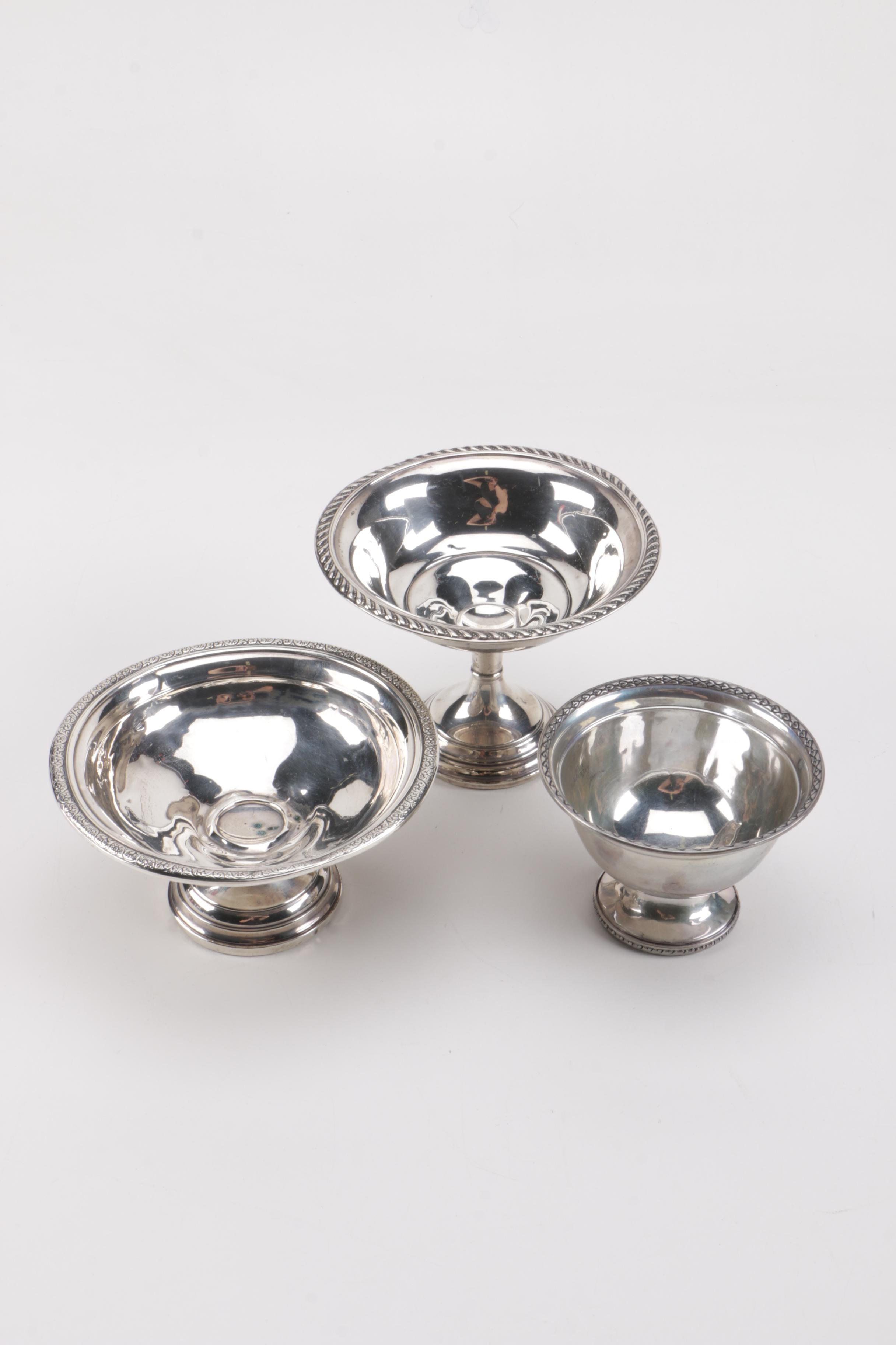 Weighted Sterling Compotes and Bowl Featuring Revere Silversmiths
