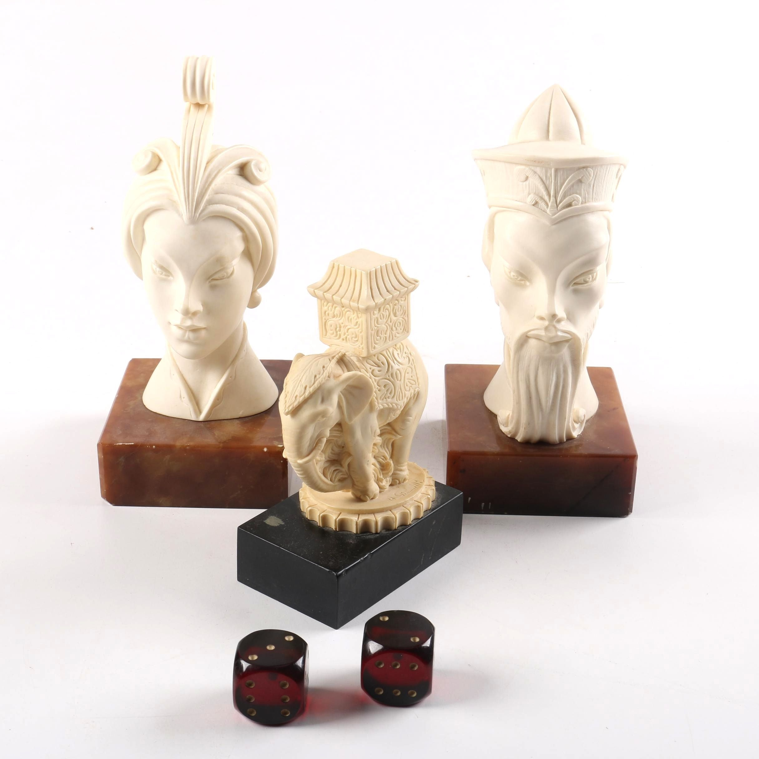 Resin Busts from Italy, Elephant, and Dice