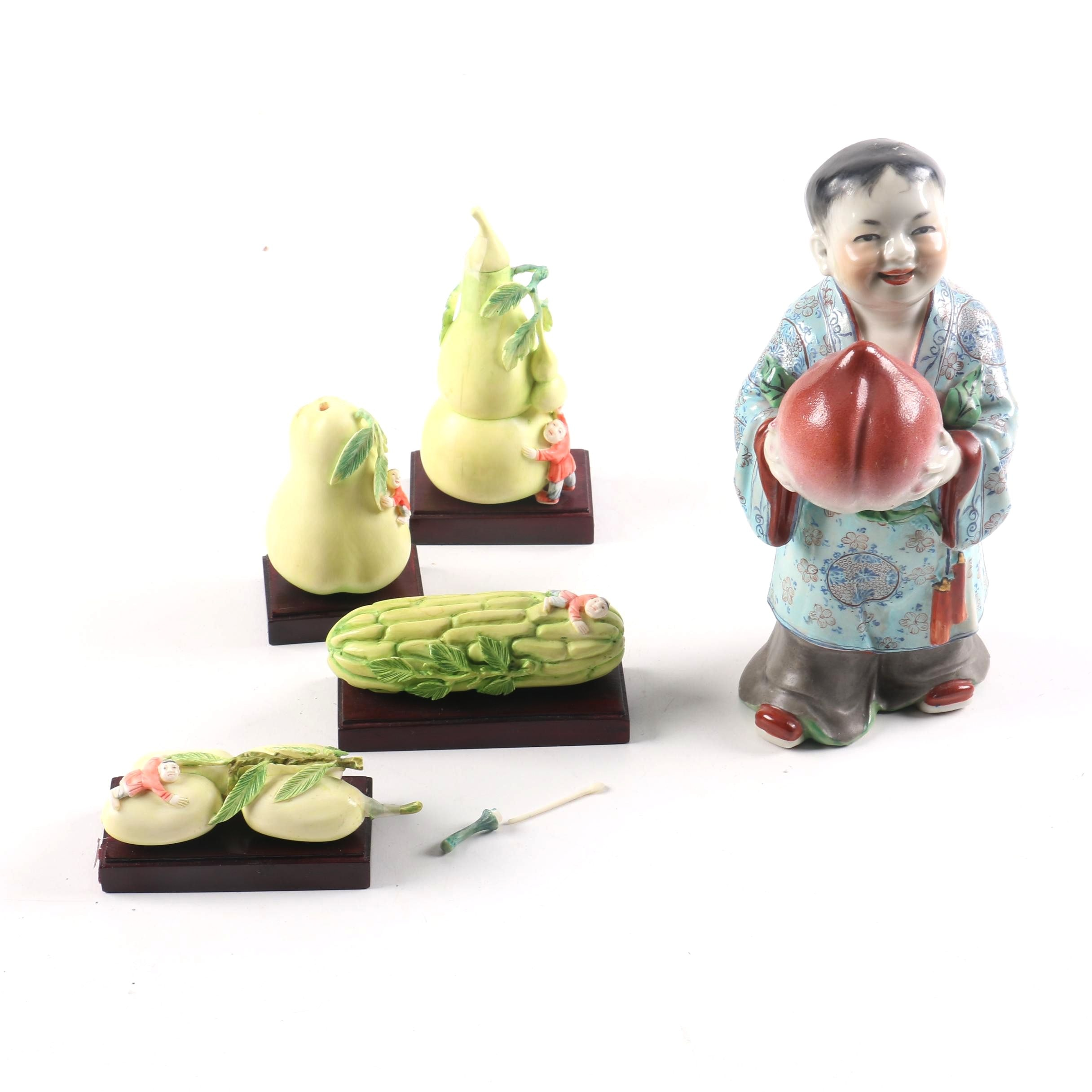 Collection of Figurines Including Chinese Boy with Immortality Peach