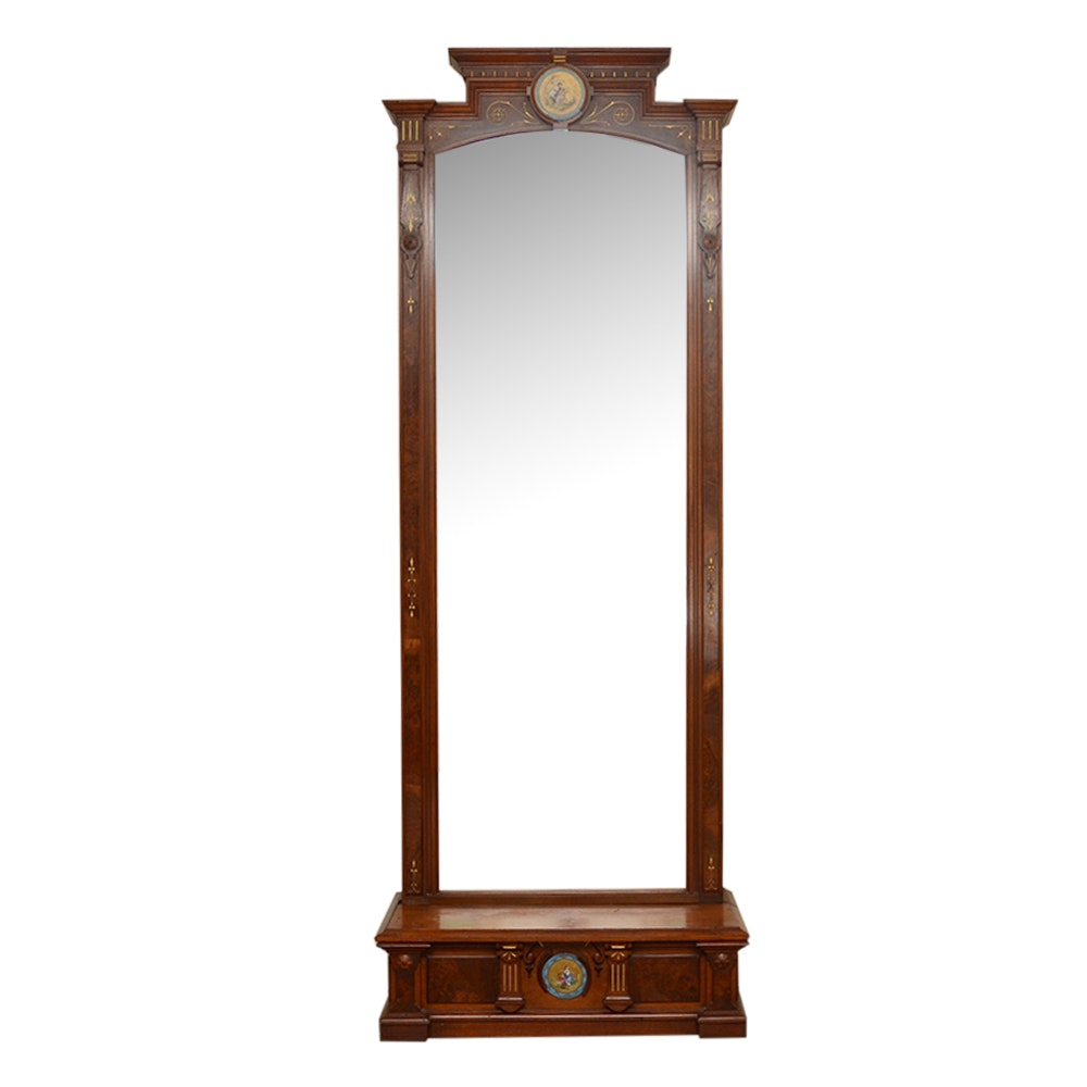 Wooden Hall Mirror with Shelf