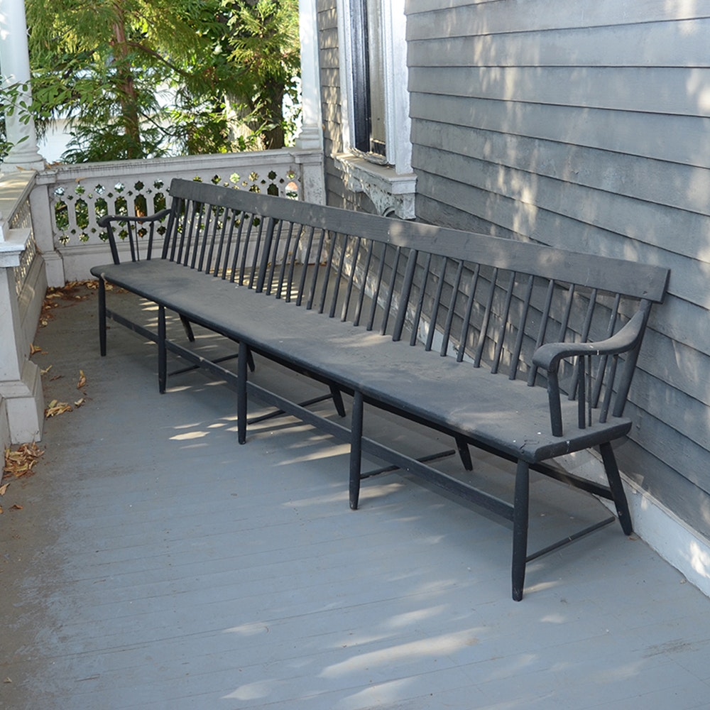 Windsor Style Wooden Bench
