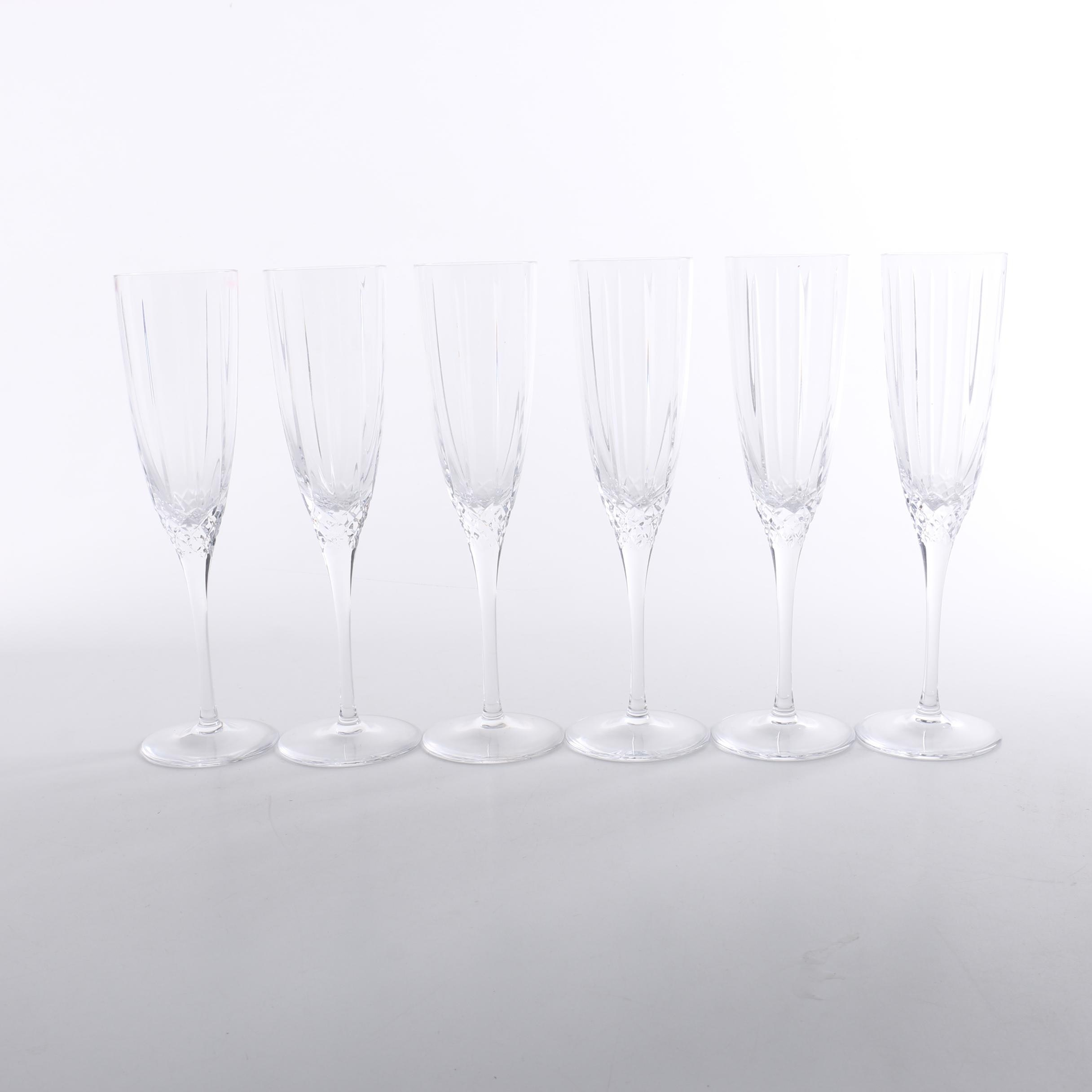 "Set of Marquis by Waterford ""Sparkle"" Crystal Champagne Flutes"