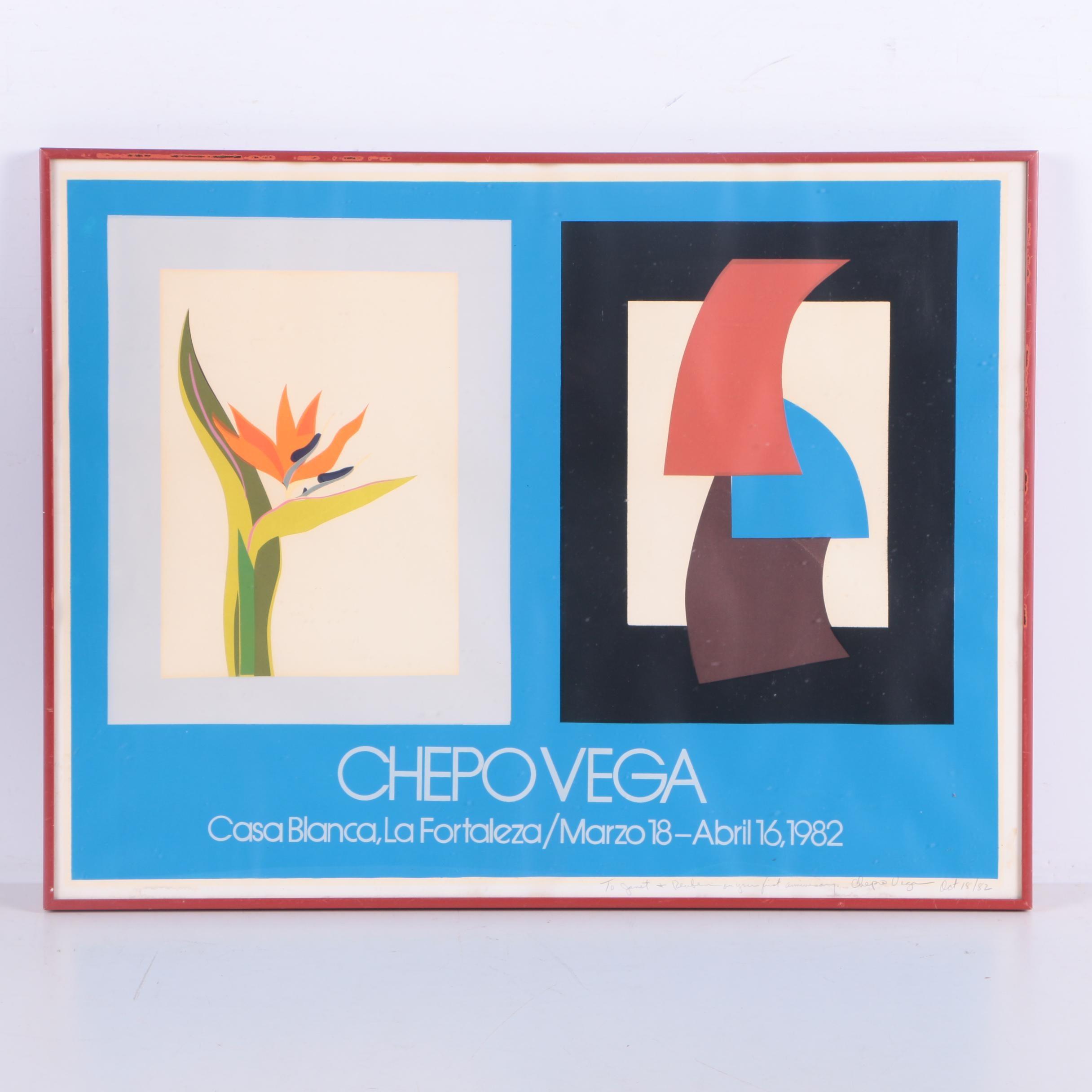 Signed 1982 Chepo Vega Serigraph on Paper