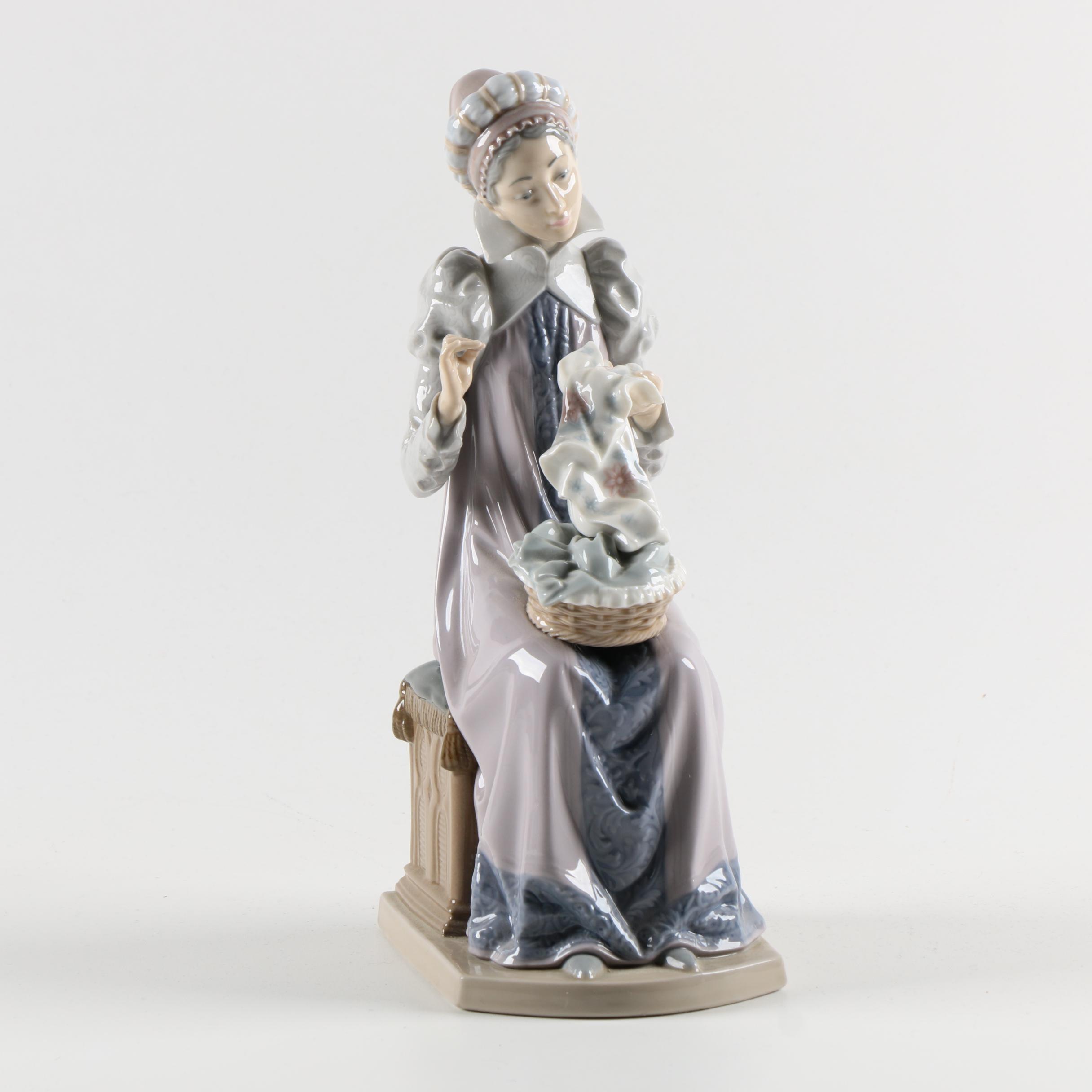 "Vintage Lladró ""Sewing a Trousseau"" Figurine"