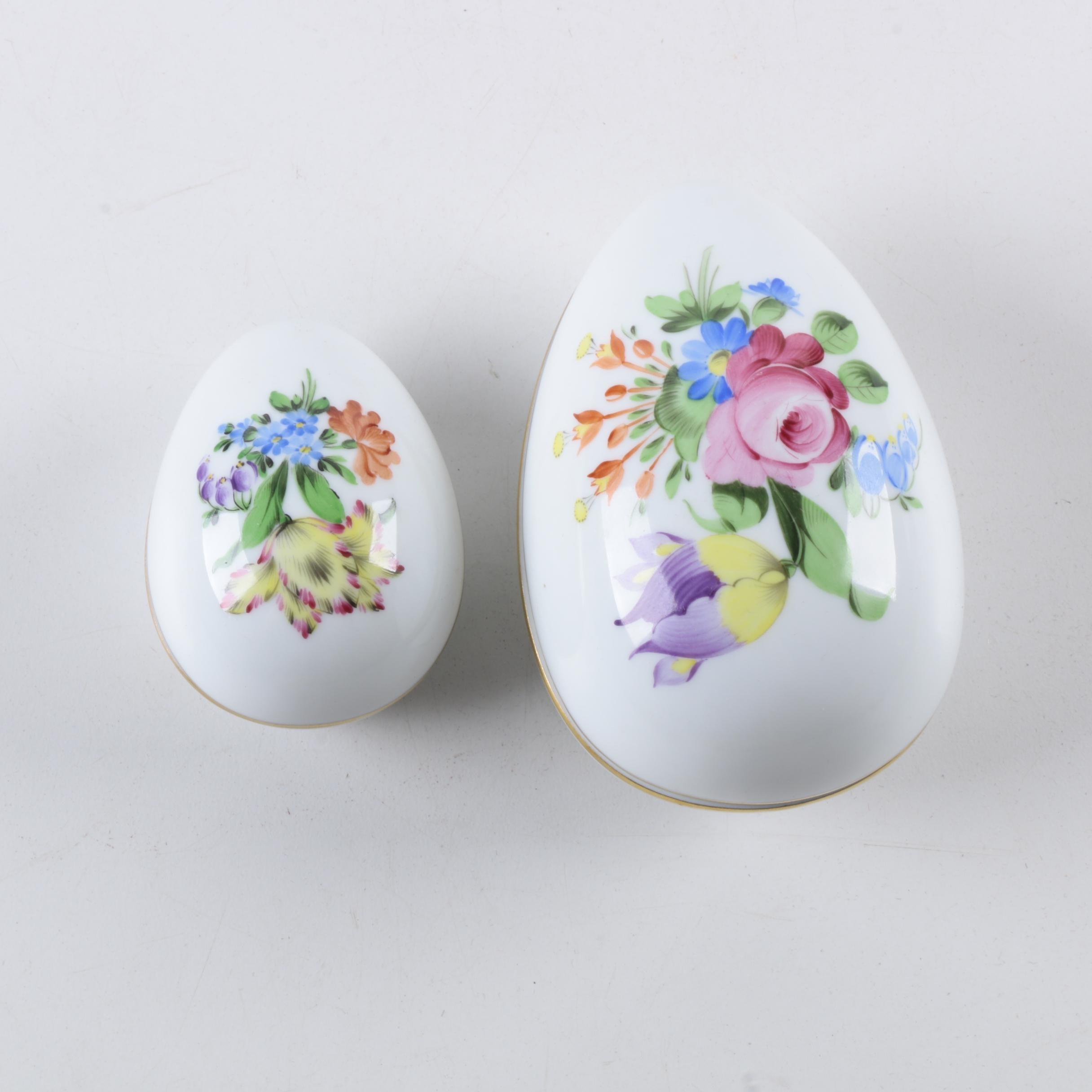 Herend Hand Painted Porcelain Egg Trinket Boxes