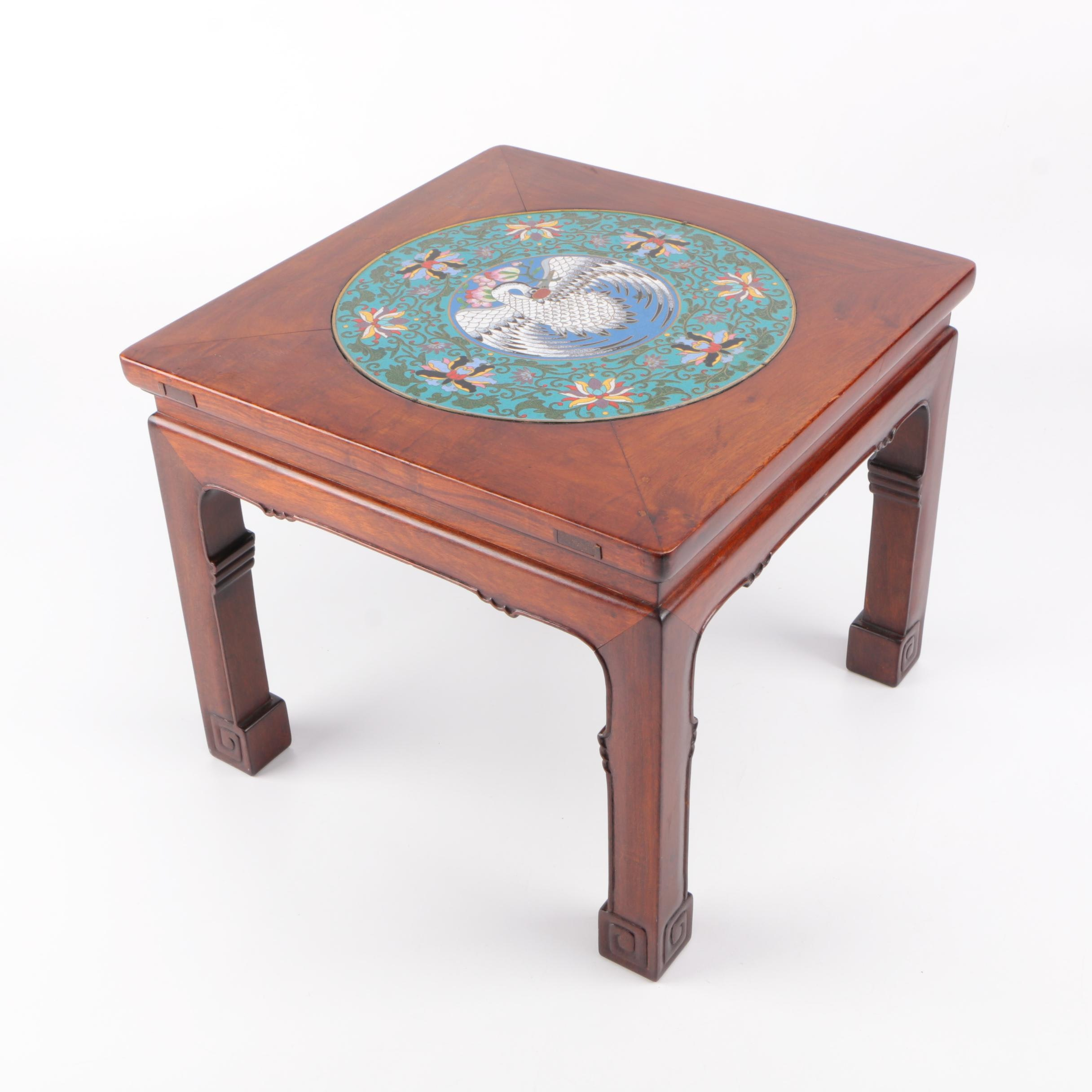 Cloisonne Adorned Wood Stand