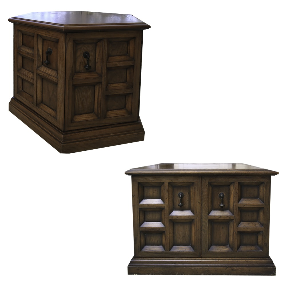 Pair of Vintage Paneled Wood Cabinet End Tables